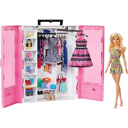 Oferta de Barbie - Fashionista Armario Portable con Muñeca Incluida, Ropa, Complementos y Acce (Mattel GBK12) por 29.91€