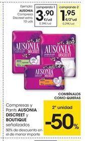 Oferta de Compresas Ausonia por 3,9€
