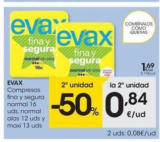Oferta de Compresas Evax por 1,69€