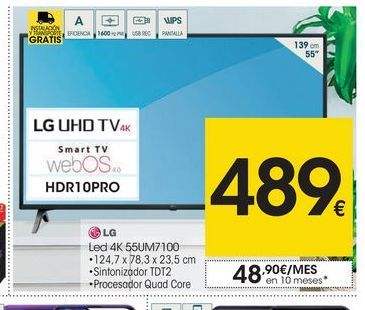 Oferta de Smart tv led 55'' LG por 489€