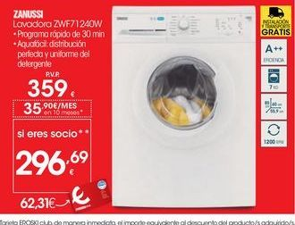 Oferta de Lavadora carga frontal Zanussi por 359€