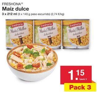 Oferta de Maíz dulce Freshona por 1.15€