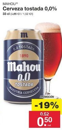 Oferta de Cerveza sin alcohol Mahou por 0.62€