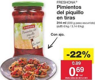 Oferta de Pimientos del piquillo Freshona por 0.89€