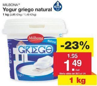 Oferta de Yogur griego Milbona por 1.95€