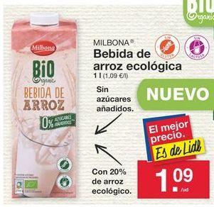 Oferta de Bebida de arroz Milbona por 1.09€