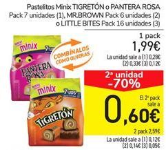 Oferta de Pastelitos Minix TIGRETÓN o PANTERA ROSA, MR. BROWN o LITTLE BITES por 1.99€