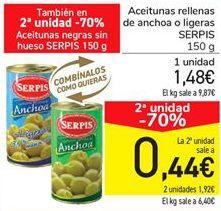 Oferta de Aceitunas rellenas de anchoa o ligeras SERPIS por 1.48€