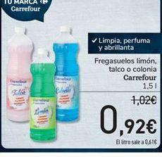 Oferta de Fregasuelos limón, talco o colonia Carrefour por 0.92€