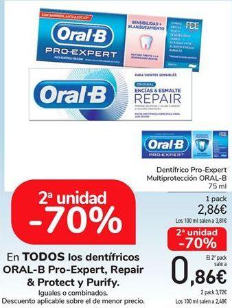Oferta de En TODOS los dentífricos ORAL-B Pro-Expert, Repair & Protect y Purify, iguales o combinados  por 2,68€