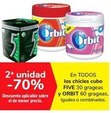Oferta de En TODOS los chicles cubo FIVE y ORBIT por