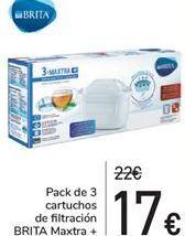 Oferta de Pack de 3 cartuchos de filtración BRITA Maxtra  por 17€