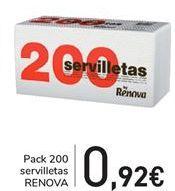 Oferta de Pack 200 servilletas RENOVA  por 0,92€