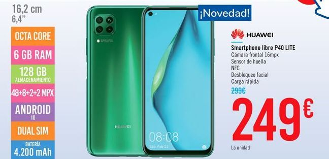 Oferta de Smartphone libre P40 LITE por 249€
