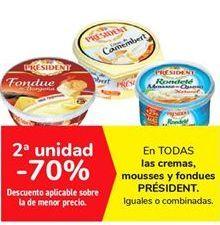 Oferta de En TODAS las cremas mousses y fondues PRÉSIDENT por