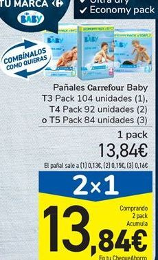 Oferta de Pañales Carrefour Baby T3 Pack 104 unidades, T4 Pack 92 unidades  o T5 Pack 84 unidades por 13,84€