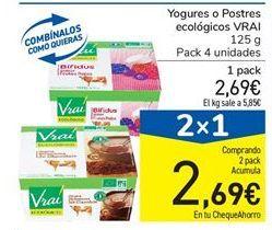 Oferta de Yogures o Postres ecológicos VRAI 125 g por 2.69€