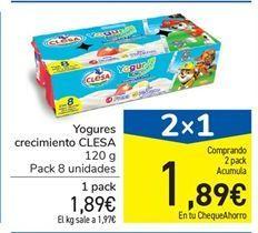 Oferta de Yogures crecimiento CLESA 120 g por 1.89€