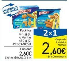 Oferta de Peskitos 400 g (1) o Varitas 450 g (2) PESCANOVA por 2,6€