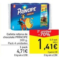 Oferta de Galleta rellena de chocolate PRÍNCIPE por 4,71€