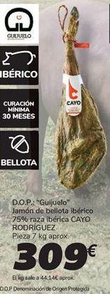 Oferta de Jamón de bellota ibérico 75% raza ibérica CAYO RODRIGUEZ por 309€