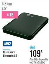 Oferta de Disco duro Elements SE WD por 109€