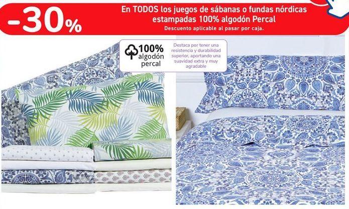 Oferta de En TODOS los juegos de sábanas o fundas nórdicas estampadas 100% algodón Percal  por