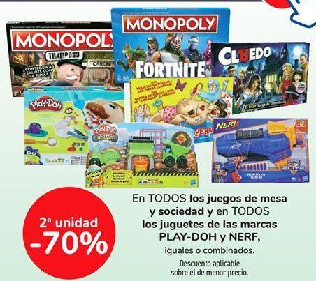 Oferta de En TODOS los juegos de mesa y sociedad y en TODOS los juguetes de las marcas PLAY-DOH y NERF, iguales o combinados  por