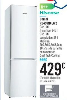 Oferta de Combi RB438N4EW2 HISENSE por 429€