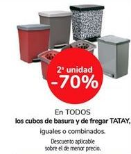 Oferta de En TODOS los cubos de basura y de fregar TATAY, iguales o combinados  por
