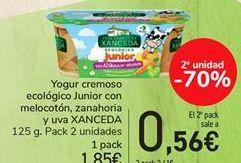 Oferta de Yogur cremoso ecológico Junior con melocotón, zanahoria y uva XANCEDA por 1,85€