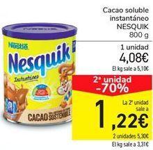 Oferta de Cacao soluble instantáneo NESQUIK por 4,08€