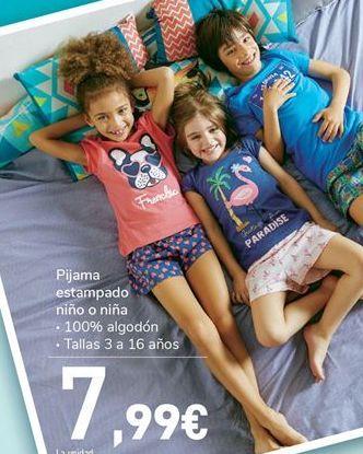 Oferta de Pijama estampado niño o niña por 7,99€