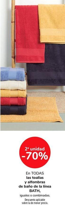 Oferta de En TODAS las toallas y alfombras de baño de la línea BATH, iguales o combinados por