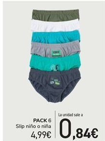 Oferta de PACK 6 Slip niño o niña por 4,99€