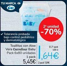Oferta de Toallitas con Aloe Vera Carrefour Baby por 5.45€