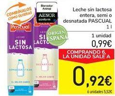 Oferta de Leche sin lactosa entera, semi o desnatada PASCUAL por 0.99€