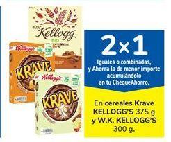 Oferta de En cereales Krave KELLOGG'S 375 g y W.K. KELLOGG'S 300 g. por