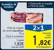 Oferta de Paté de hígado de cerdo Carrefour 78 g por 1,82€