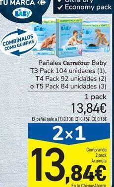 Oferta de Pañales Carrefour Baby T3 Pack 104 unidades, T4 Pack 92 unidades  o T5 Pack 84 unidades por 13.84€