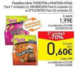 Oferta de Pastelitos Minix TIGRETÓN o PANTERA ROSA, MR. BROWN o LITTLE BITES por 1,99€