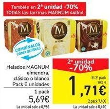 Oferta de Helados MAGNUM almendra, clásico o blanco por 5,69€