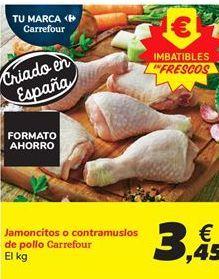 Oferta de Jamoncitos o contramuslos de pollo Carrefour por 3,45€