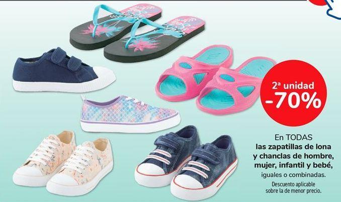 Oferta de En TODAS las zapatillas de lona y chanclas de hombre, mujer, infantil y bebé, iguales o combinados  por