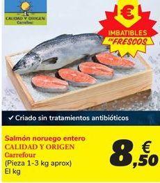 Oferta de Salmón noruego entero Carrefour por 8.5€