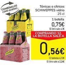 Oferta de Tónica o cítricos SCHWEPPES vidrio por 0,75€