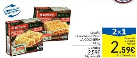 Oferta de Lasaña o Canelones Micro LA COCINERA 300 g por 2.59€