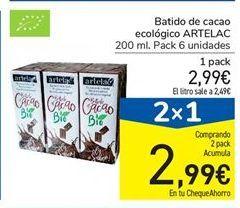 Oferta de Batido de cacao ecológico ARTELAC 200 ml. por 2,99€