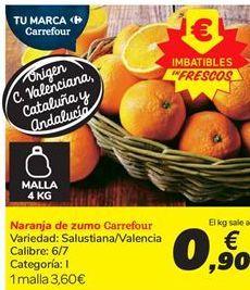 Oferta de Naranja de zumo Carrefour por 3.6€