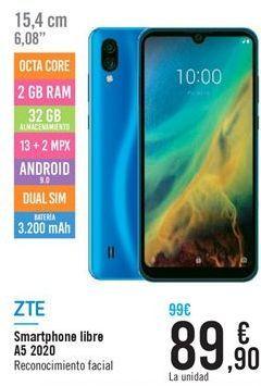 Oferta de Smartphones Libre A5 2020 ZTE por 89,9€